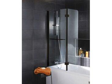 Schulte - Pare-baignoire rabattable 112 x 150 cm, verre transparent anticalcaire 5 mm, profilé noir, paroi de baignoire 2 volets, écran de baignoire pivotant Transparent