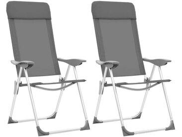 Hommoo Chaises de camping pliables 2 pcs Gris Aluminium
