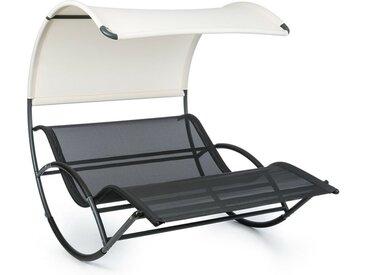 Blumfeldt - The Big Easy chaise longue à bascule noir, imperméable 350kg max. anti UV