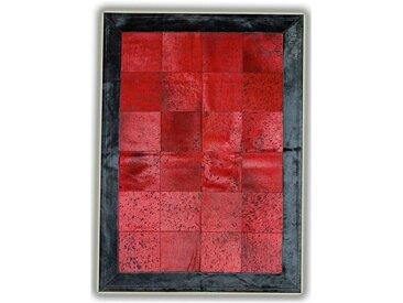 Tapis peau de vache naturelle Sagonte Rouge 140x200 - Rouge