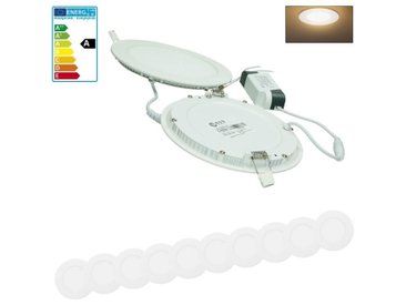 ECD Germany 10 x Ultraslim LED mince Lampe intégrée 12W Ø17cm SMD 2835 Blanc chaud 3000K 220-240 V environ 689 Lumens Plafonnier Encastré Rond