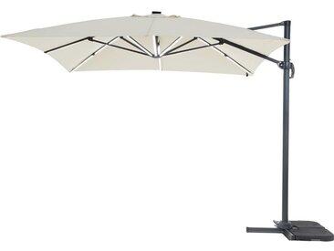 """Parasol jardin déporté LED Alu """"Sun 3 Luxe"""" - Carré - 3 x 3 m - Ecru"""