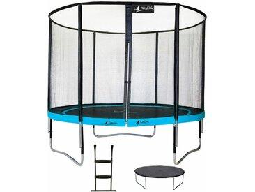 Trampoline de jardin rond 305 cm + filet de sécurité + échelle + bâche de protection PUNCHI Bleu 300 - Bleu