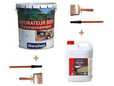 Pack saturateur bois Environnement Naturel 20L + dégriseur bois 5L Blanchon + 2 brosses lasure, huile, saturateur avec rallonge