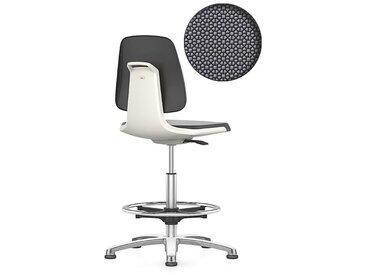 bimos Siège d'atelier, avec patins et repose-pieds circulaire assise Supertec, blanc