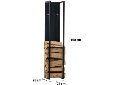 Porte-bûches Spark métal noir/mat 25x25x140 cm