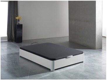 Sommier coffre tapissier 160x200cm blanc INDO - L 200 x l 160 x H 34 - Blanc