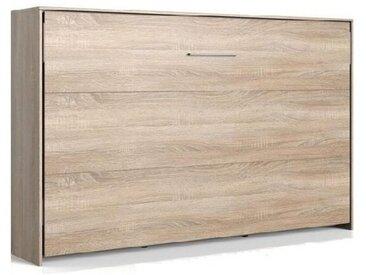 Lit escamotable horizontal VANIER décor chêne couchage 120 x 200 cm - natural