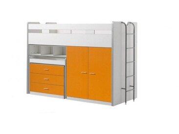 Lit combiné enfant moderne Jerry Orange 90 x 200 cm - Bleu, gris, orange, blanc, rose, fuchsia ou turquoise