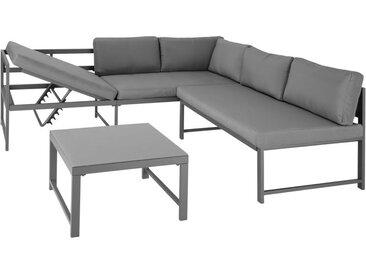 Canapé de jardin FARO modulable Chaise longue inclinable 6 positions et Table basse en Verre Gris