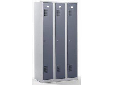 QUIPO Vestiaire - largeur 900 mm, 3 compartiments de 298 mm, serrure à cylindre - corps gris clair, portes gris basalte - Coloris des portes: Gris basalte