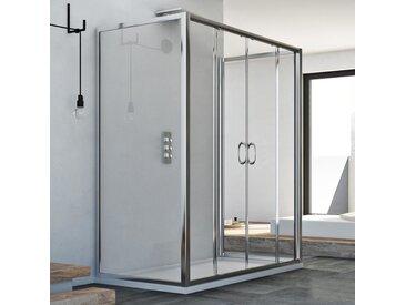 Cabine douche à trois côtés 70x130x70 CM H185 trasparent modèle Replay Trio avec 2 portillons