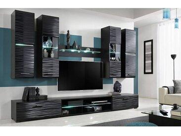 JESSI | Unité murale style contemporain 6 pcs | Éclairage LED inclus | Mur TV | Ensembles meubles salon séjour | Gloss + Mat | Noir - Noir