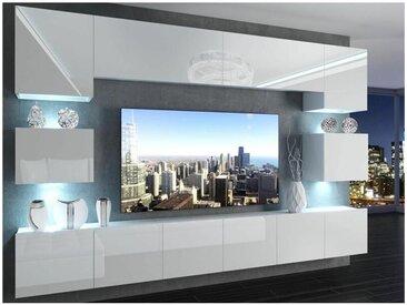 Hucoco - KLARI | Ensemble meubles TV | Unité murale style moderne | Largeur 300 cm | Mur TV à suspendre finition gloss - Blanc