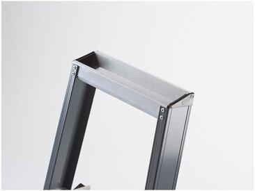 Escabeau à marches en aluminium, accès un côté, avec bac porte-outils 8 marches, hauteur de travail 3900 mm
