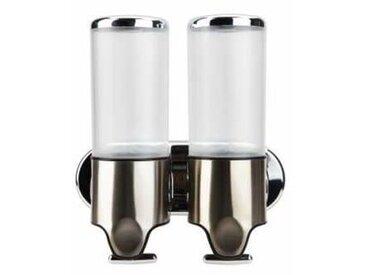 Double distributeur de savon et shampoing 2 x 500 ml ultra ergonomique