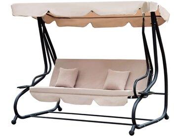 Balancelle de jardin convertible 3 places toit imperméabilisé inclinaison réglable 2 tablettes + matelas 2L x 1,2l x 1,64H m métal époxy noir polyester beige
