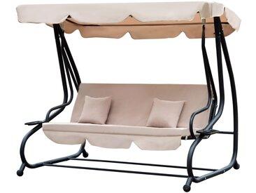 Outsunny - Balancelle de jardin convertible 3 places inclinaison toit réglable 2 tablettes + matelas 2L x 1,2l x 1,64H m métal époxy noir polyester beige