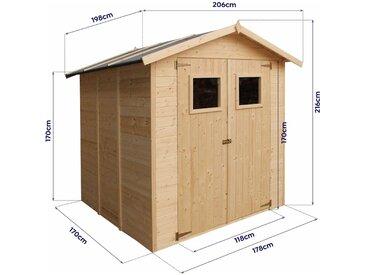 Abri de jardin Tallin 4.1 m2 - 198x206x216cm avec plancher. Remise en bois naturel