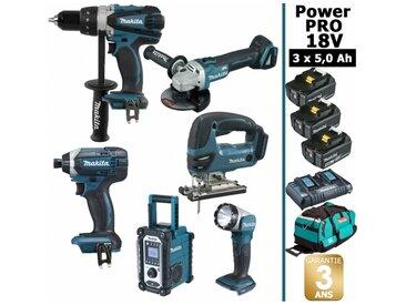 Pack Power PRO 6 outils 18V: Perceuse DDF458 + Visseuse à choc DTD152 + Meuleuse DGA504 + Scie sauteuse DJV180 + Radio DMR107 + Lampe Torche LED + 3 batt 5Ah + sac MAKITA