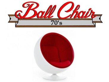 Fauteuil boule, Ball chair coque blanche / intérieur velours rouge. Design 70's.