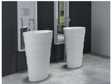 Lavabo colonne totem PB2192 - 60 x 40 x 90 cm - blanc - Solid Stone