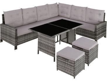 Tectake - Canapé de jardin BARLETTA modulable, variante 2 - table de jardin, mobilier de jardin, fauteuil de jardin - gris