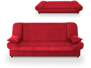 MADDY - Banquette clic clac convertible en tissu rouge