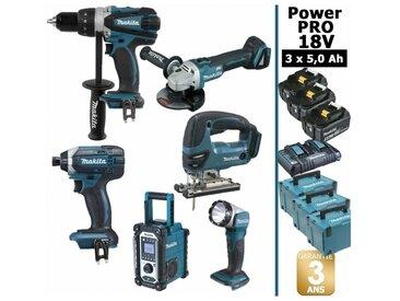 Pack Power PRO Makita 6 outils 18V: Perceuse DDF458 + Visseuse à choc DTD152 + Meuleuse DGA504 + Scie sauteuse DJV180 + Radio DMR108 + Lampe Torche LED + 3 batt 5Ah + 3 Coffrets Makpac