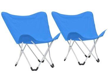 Hommoo Chaise de camping pliable Forme de papillon 2 pcs Bleu
