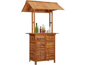 Table de bar d'extérieur avec toit 122x106x217 cm Bois d'acacia