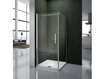 90x90x195cm Porte pivotante porte de douche paroi de douche cabine de douche avec barre de fixation 140cm verre anticalcaire