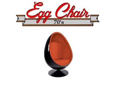Fauteuil pivotant Oeuf, Egg chair coque noir / intérieur velours orange. Design 70's.