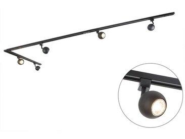 Spot de Plafond Rail Gissi 5 noir Qazqa Moderne Luminaire interieur