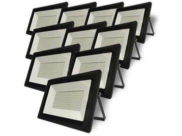 Projecteur LED Extérieur 100W IP65 Noir (Pack de 10) - Blanc Neutre 4000K - 5500K