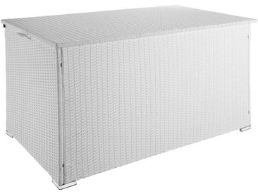 Coffre de Jardin de Rangement extérieur 750 L en Résine tressée et Aluminium Blanc