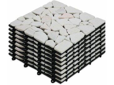 Oviala - 8 Dalles de terrasse clipsables en galets de marbre blanc Galicia - Blanc - Blanc