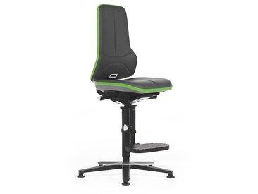 Si??ge d'atelier NEON avec repose-pieds, assise en similicuir, noir/vert