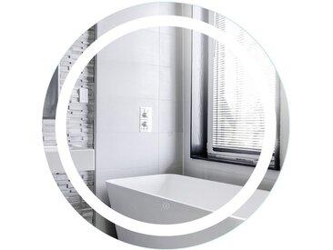 Miroir de Maquillage Miroir Rond Mural + Éclairage LED et Interrupteur Tactile 80*80*4.5cm