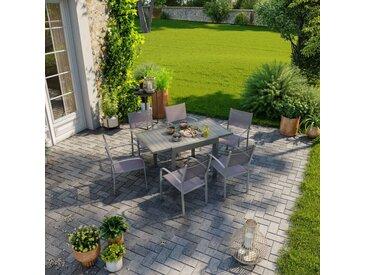 Table de jardin extensible aluminium 83/145cm + 6 fauteuils empilables textilène gris taupe - MILO - Gris