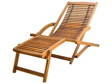 Hommoo Chaise de terrasse avec repose-pied Bois d'acacia solide
