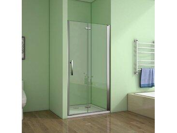 Porte de douche 90x185cm porte de douche pivotante et pliante verre anticalcaire