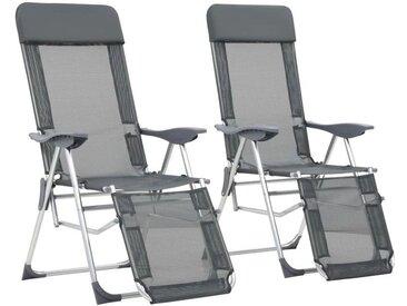 Hommoo Chaises de camping pliables 2 pcs et repose-pied Gris Aluminium
