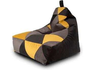 BEANBAG / POUF Keiho S - ECO-CUIR moderne | gris-jaune