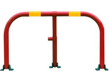 Arceau parking rouge bandes jaunes - arceau anti-stationnement avec serrure intégrée (barillet s'entrouvrant)