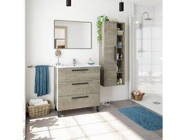 Meuble de salle de bain sur le sol 80 cm Chêne avec 3 tiroirs et miroir   Chêne clair - Avec double colonne et lampe LED