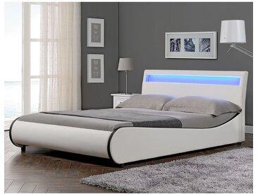Lit capitonné à LED de 'Valencia' (blanc)(140x200cm) lit moderne / cuir synthétique / avec sommier à lattes /