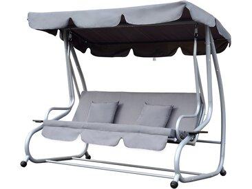 Balancelle de jardin 3 places convertible toit imperméabilisé inclinaison réglable 2 tablettes support 2L x 1,2l x 1,64H m métal époxy noir polyester gris