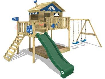 Aire de jeux WICKEY Smart Coast avec toboggan vert, bac à sable et balançoire