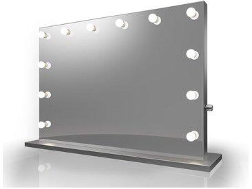 Miroir de Maquillage Hollywood Diamond X Bordure Argent LED Blanc Chaud k84MWW - Couleur LED : Ampoules LED blanches chaudes